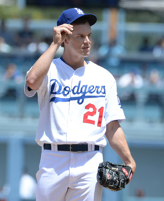 . Los Angeles Dodgers starting pitcher Zack Greinke in the first inning of a Major league baseball game against the San Francisco Giants on Saturday, May 10, 2013 in Los Angeles.   (Keith Birmingham/Pasadena Star-News)