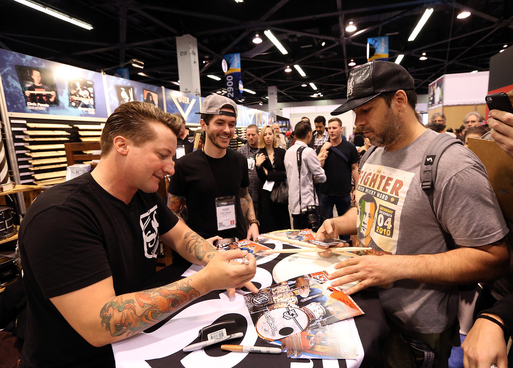 . ANAHEIM, CA - JANUARY 24:  Drummer Tre Cool of Green Day attends the 2014 National Association of Music Merchants show at the Anaheim Convention Center on January 24, 2014 in Anaheim, California.  (Photo by Jesse Grant/Getty Images for NAMM)