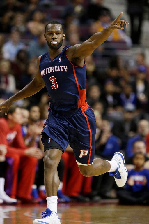 . Detroit Pistons guard Rodney Stuckey (3) is seen during the second quarter of an NBA basketball game against the Los Angeles Lakers at the Palace in Auburn Hills, Mich., Friday, Nov. 29, 2013. (AP Photo/Carlos Osorio)