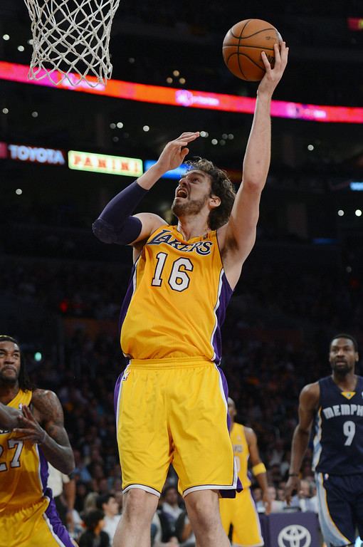 . The Lakers� Pau Gasol during their game against the Grizzlies at the Staples Center in Los Angeles Friday, November 15, 2013. The Grizzlies beat the Lakers 89-86.  (Photo by Hans Gutknecht/Los Angeles Daily News)