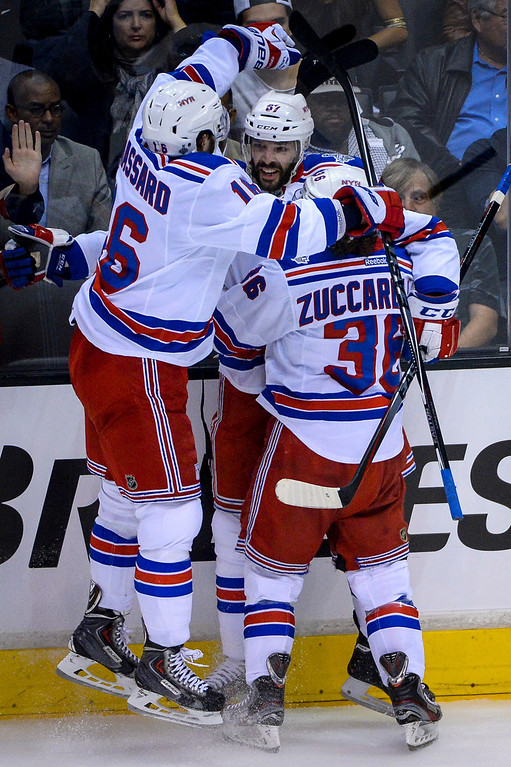 . Rangers Carl Hagelin celebrates his goal during first period action at Game 1 of the Stanley cup Finals at Staples Center Wednesday, June 4, 2014 ( Photo by David Crane/Los Angeles Daily News )