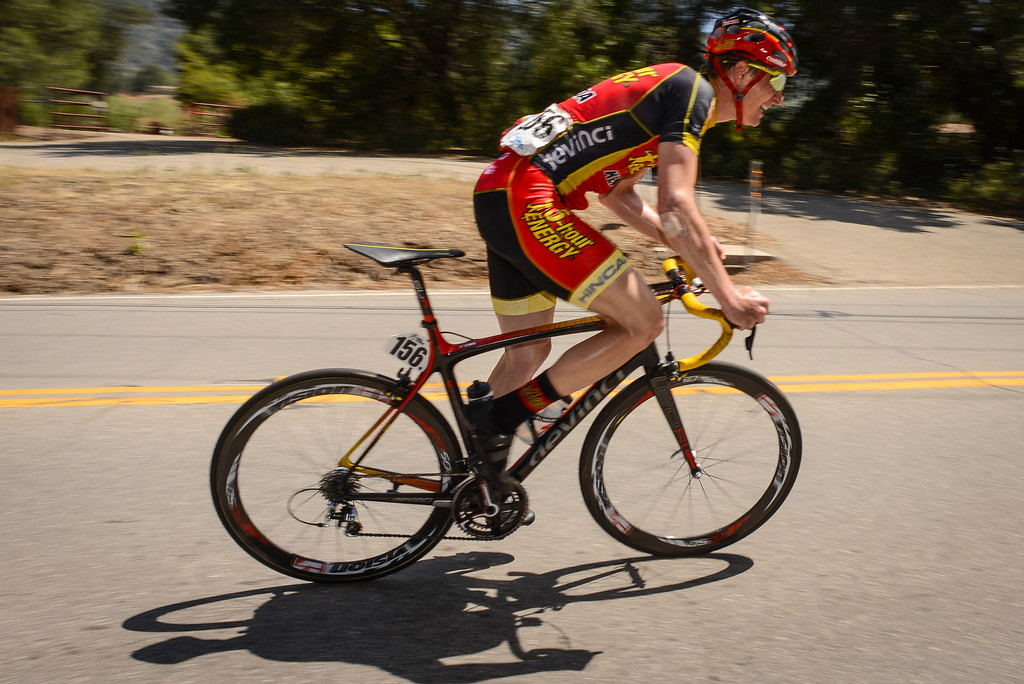 . James Stemper of team 5HR makes a chase up first king of the mountain climb of the stage up highway 150 into the Ojai Valley Wednesday.  Stage 4 of the Amgen Tour of California started in Santa Clarita and ended in Santa Barbara.  Photo by David Crane/Staff Photographer