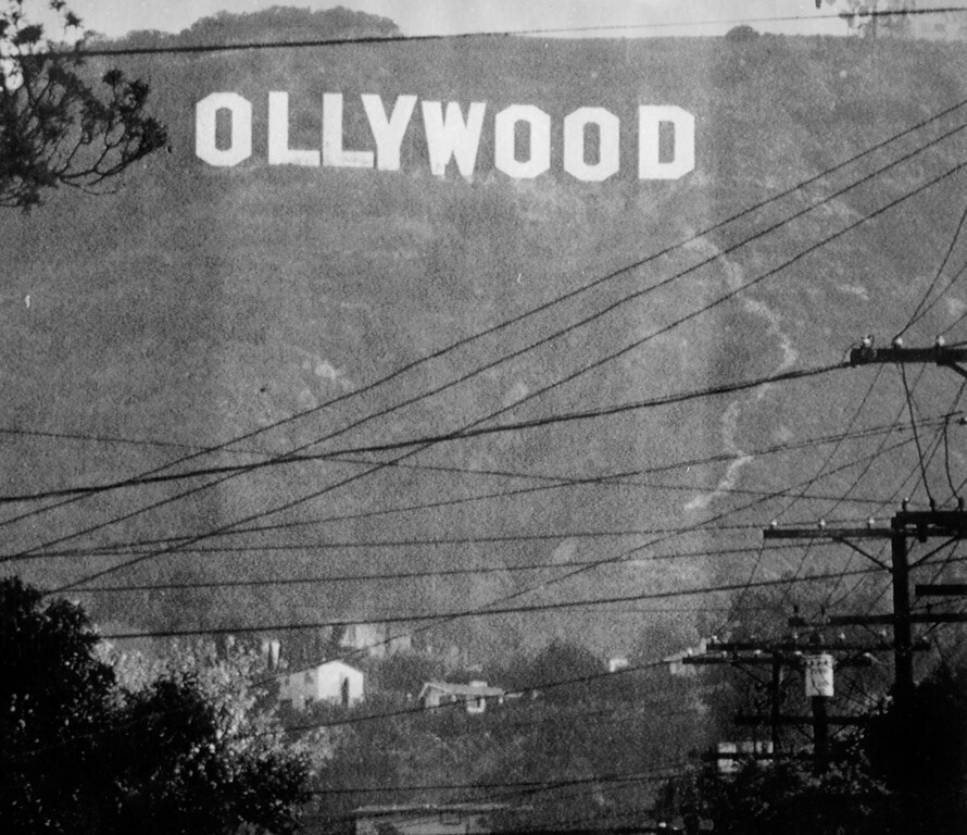 . In 1987, Hollywood\'s famous landmark got a make-over in a prankster\'s reference to Iran-Contra figure Oliver North.  (L.A. Daily News file photo)