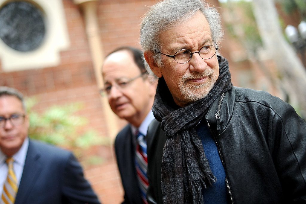 . Steven Spielberg makes his way across the USC campus Friday, April 25, 2014.  Spielberg was on hand to  announce that USC will establish the Center for Advanced Genocide Research which will serve as the research and scholarship unit of the Shoah Foundation. (Andy Holzman/Los Angeles Daily News)