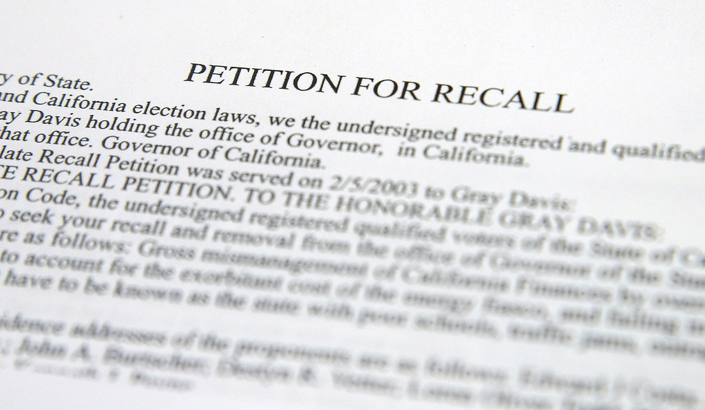 . MARTINEZ, CA - JULY 23:  A petition to recall Governor Gray Davis is seen at the Contra Costa County Registrar of Voters office July 23, 2003 in Martinez, California. California Secretary of State Kevin Shelley is expected to certify the unprecedented recall election of Governor Davis as soon as today after Davis opponents collected over 1 million signatures to put the recall on the ballot. California law requires an election within 60 to 80 days of Shelley\'s announcement, forcing a mad scramble among the counties to throw something together in a matter of weeks.  (Photo by Justin Sullivan/Getty Images)