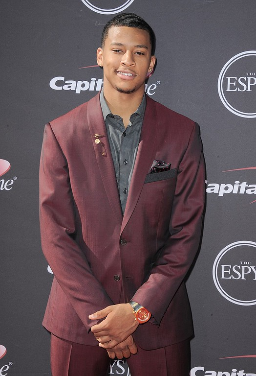 . Utah Jazz\'s Trey Burke arrives at the ESPY Awards on Wednesday, July 17, 2013, at Nokia Theater in Los Angeles. (Photo by Jordan Strauss/Invision/AP)