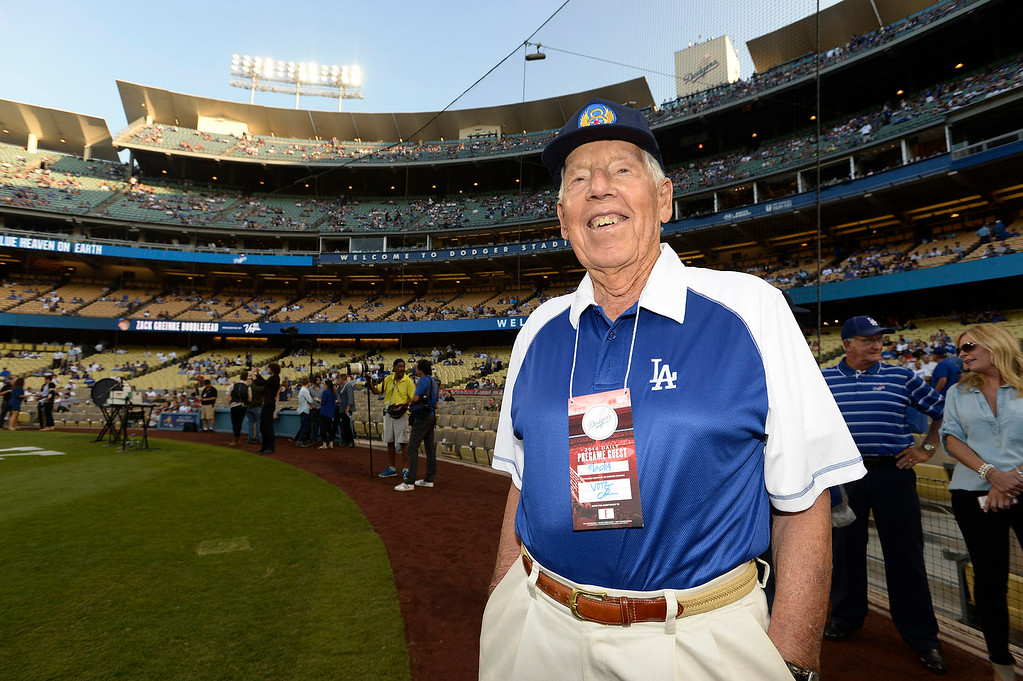 . Wallace E. Hull was a U.S. Army Air Corps Second Lieutenant who flew missions in a B-17 during WWII. He was honored on the field before the Dodgers played the San Diego Padres at Dodger Stadium. Los Angeles, CA. 8/20/2014(Photo by John McCoy Daily News)