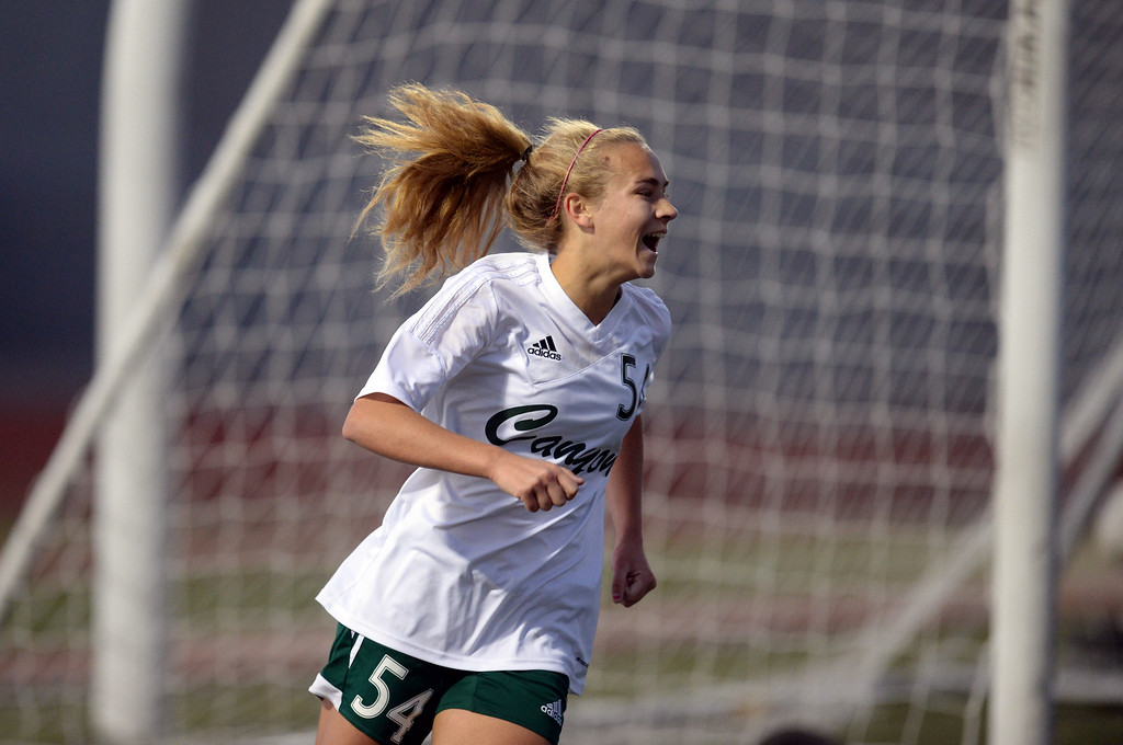 . Canyon\'s Sarah Cipperley #54 is all smiles after scoring a goal during their girls soccer game against Lancaster at Canyon High School in Santa Clarita Thursday, January 9, 2014.  (Photo by Hans Gutknecht/Los Angeles Daily News)