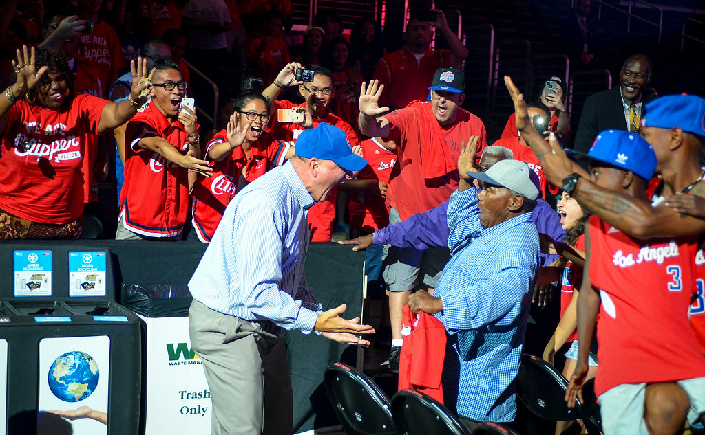 . New Clippers owner Steve Ballmer enters Staples Center for a fan rally for his team Monday August 18, 2014.  ( Photo by David Crane/Los Angeles Daily News )