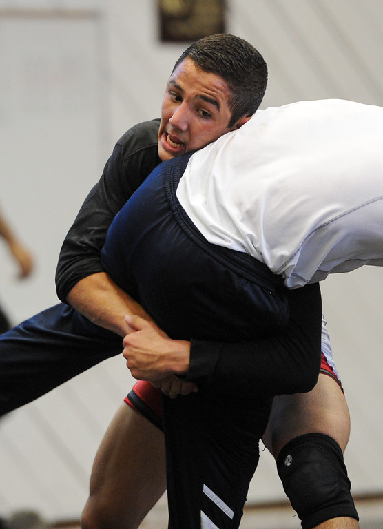 . Aaron Pico, of St. John Bosco High School, practices with the U.S. national wrestling at Harvard-Westlake High School, Friday, May 17, 2013.