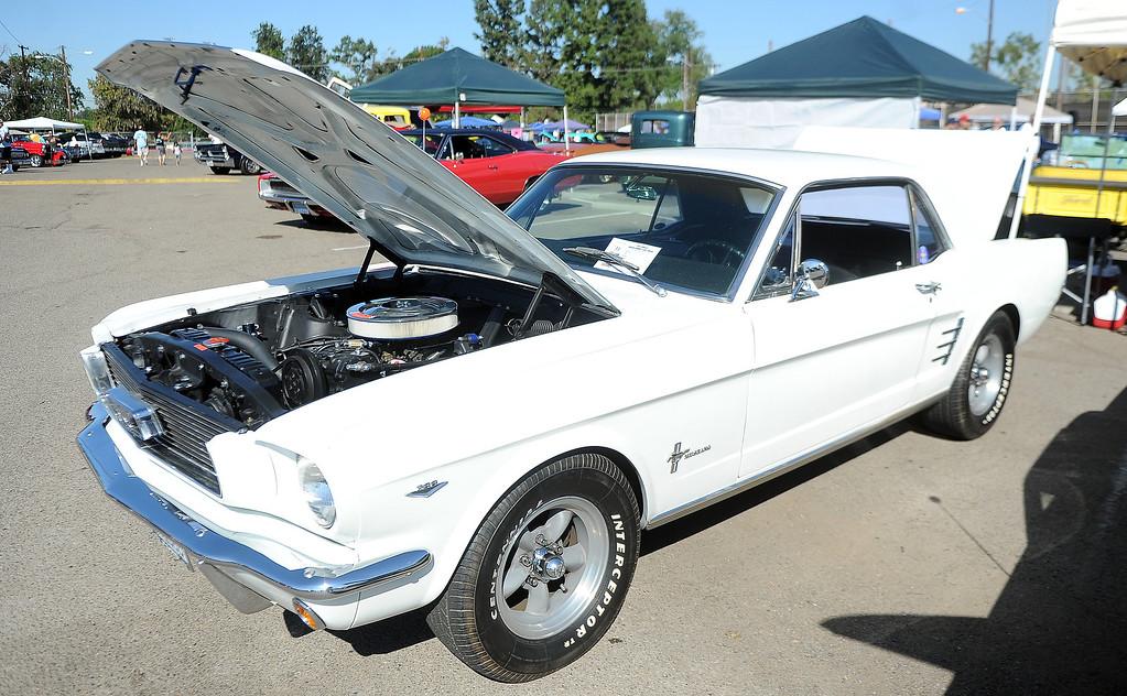 . A 1966 Ford Mustang during the 4th annual La Habra Highlanders car show at La Habra High School in La Habra Calif. on Saturday, Sept. 7, 2013.   (Photo by Keith Birmingham/Pasadena Star-News)