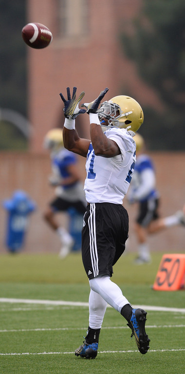 . UCLA football spring practice at Spaulding Field. RB #21 Craig Lee.  (Apr.16, 2014 Photo by Brad Graverson/The Daily Breeze)