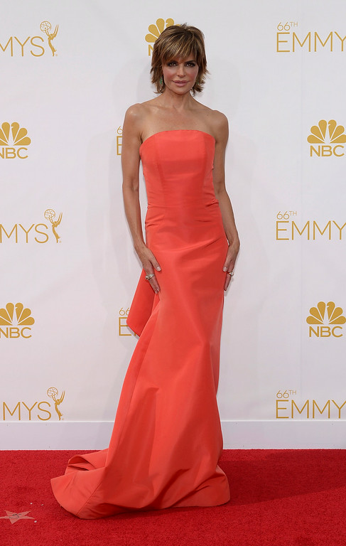 . Lisa Rinna on the red carpet at the 66th Primetime Emmy Awards show at the Nokia Theatre in Los Angeles, California on Monday August 25, 2014. (Photo by John McCoy / Los Angeles Daily News)