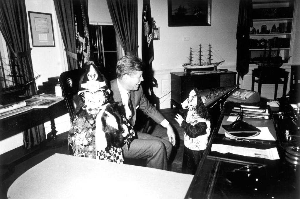. The President with son John Jr. and daughter Caroline in the Oval Office, Halloween, 1963.    Los Angeles Daily News file photo