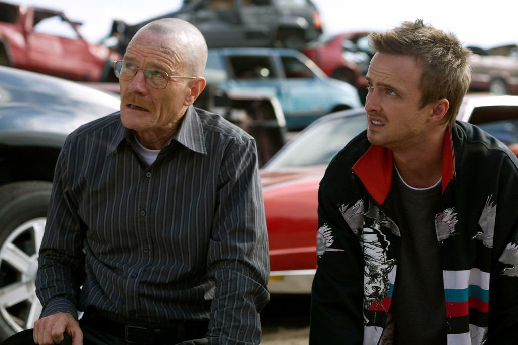 ". In this TV episodic  image released by AMC, Bryan Cranston portrays Walt White, left, and Aaron Paul portrays Jesse Pinkman in a scene from the season two premiere of the AMC original series, ""Breaking Bad,\""  airing Sunday, March 8, 2009 at 10:00p.m. EDT. (AP Photo/AMC, Cathy Kanavy)"