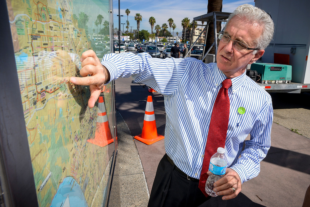. Councilmember Paul Krekorian shows proposed plans for the Metro lines at the North Hollywood Metro station Monday, March  17, 2014.   ( Photo by David Crane/Los Angeles Daily News )