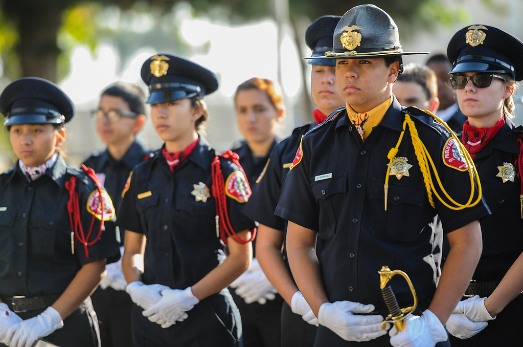 . Honor Guard Commander Victor Hernandez, 16, stands with his peers during a 9/11 remembrance ceremony at the Public Safety Academy in San Bernardino on Wednesday, Sept. 11, 2013. (Photo by Rachel Luna / San Bernardino Sun)