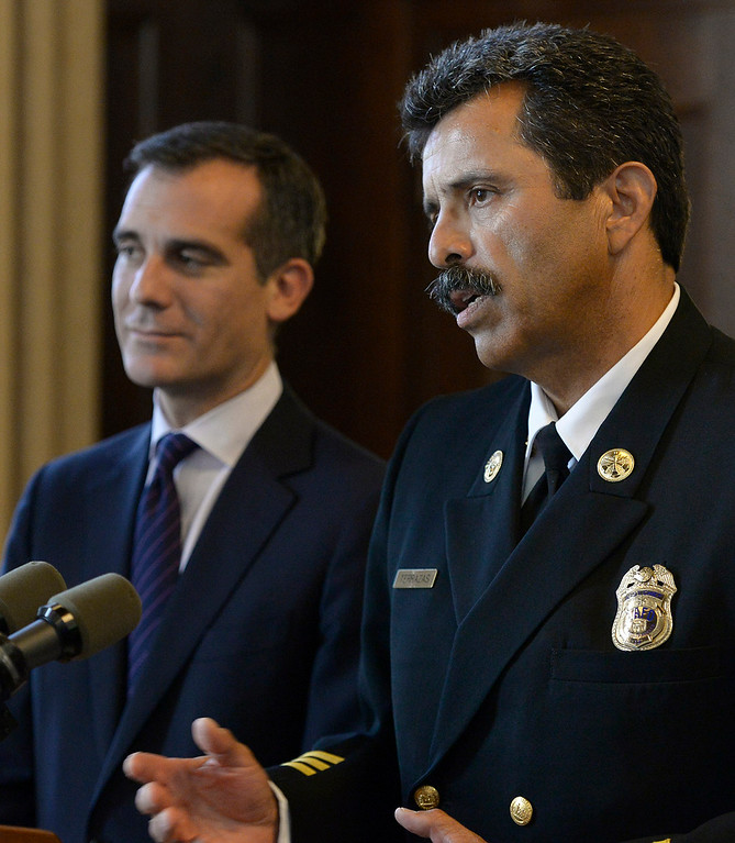 . Los Angeles Mayor Eric Garcetti stands next to LAFD Assistant Chief Ralph Terrazas, who he just appointed to be the next Chief of the Los Angeles Fire Department during a press conference at City Hall. Los Angeles, CA. 7/15/2014 (Photo by John McCoy / Los Angeles Daily News)