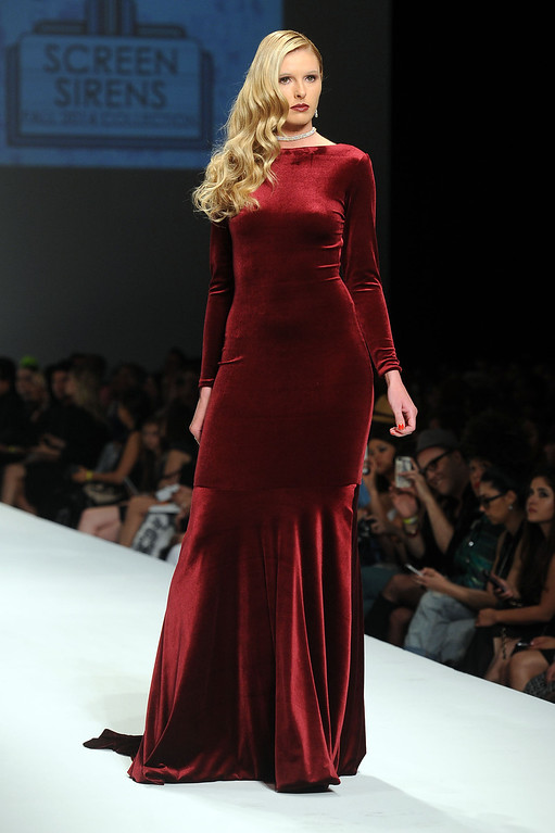 . A model walks the runway at the Andre Soriano fashion show during L.A. Fashion Week March 10, 2014 in Los Angeles, CA.(Andy Holzman/Los Angeles Daily News)