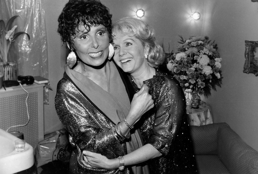 ". Performer Lena Horne, left, is visited by actress Debbie Reynolds backstage at New York\'s Nederlander Theatre, Monday night, May 4, 1981, after seeing Horne perform in ""Lena Horne: The Lady and Her Music.\""  (AP Photo/Ray Stubblebine)"