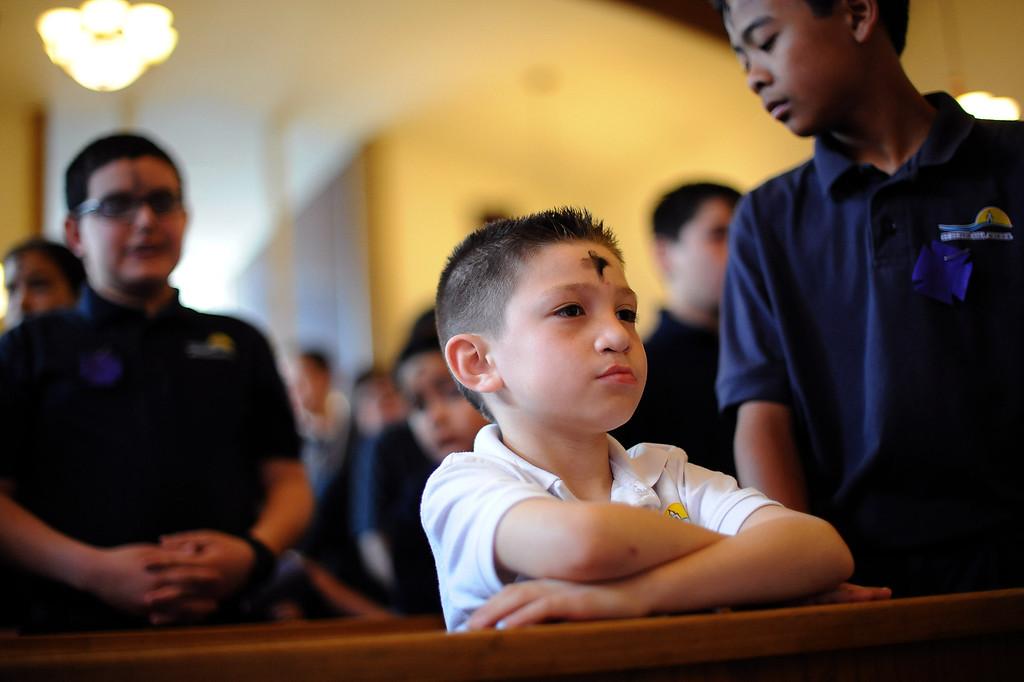 . Javier Lozano attends the Ash Wednesday Mass at the Saint Euphrasia Catholic Church in Granada Hills, CA March 5, 2014.(Andy Holzman/Los Angeles Daily News)
