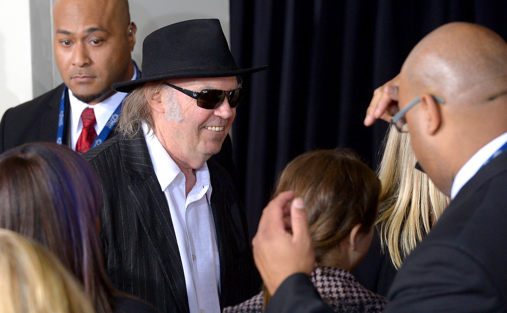 . Neil Young arrives at the 56th Annual GRAMMY Awards at Staples Center in Los Angeles, California on Sunday January 26, 2014 (Photo by David Crane / Los Angeles Daily News)