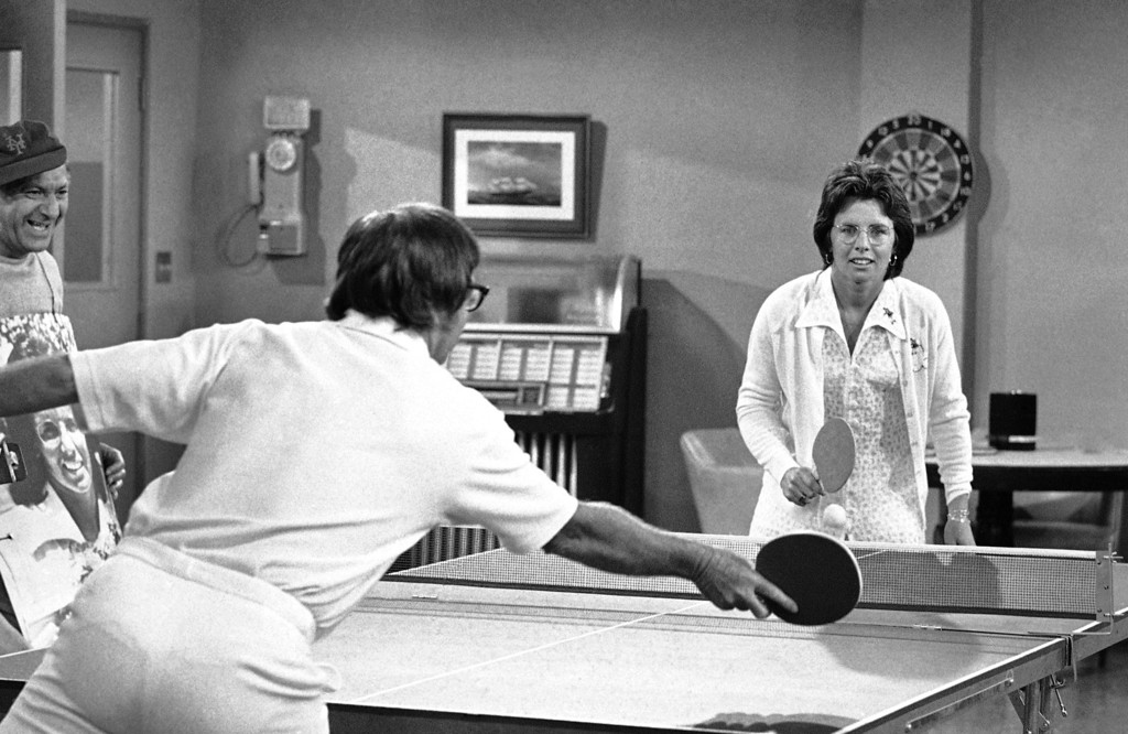 . Bobby Riggs tries a new kind of tennis game - table tennis - with Billie Jean King during taping of a segment of TV�s �The Odd Couple� in Hollywood on Friday, Oct. 20, 1973. Mrs. King defeated Riggs in three straight sets in their match at Houston�s Astrodome. The outcome of the new game was not immediately known. (AP Photo/Harold Filan)