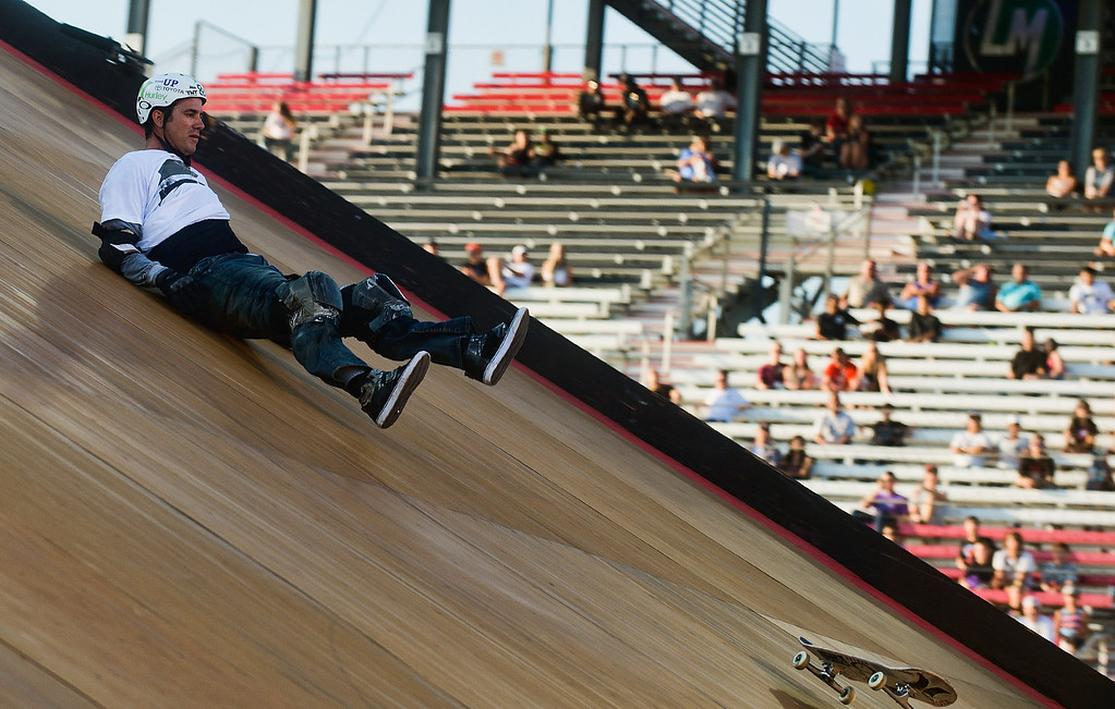. Bob Burnquist falls on a jump during the America\'s Navy Skateboard Big Air final during X Games Los Angeles at Irwindale Event Center in Irwindale on Thursday, August 1, 2013. (SGVN/Staff photo by Watchara Phomicinda)