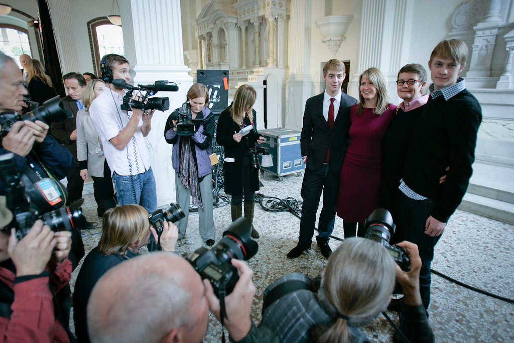 . Plaintiffs Sandy Stier and Kris Perry of Berkeley with sons Elliott and Spencer Perry after the appeals court ruling that Prop 8 is unconstitutional.   Photo by David Crane/Los Angeles Daily News.