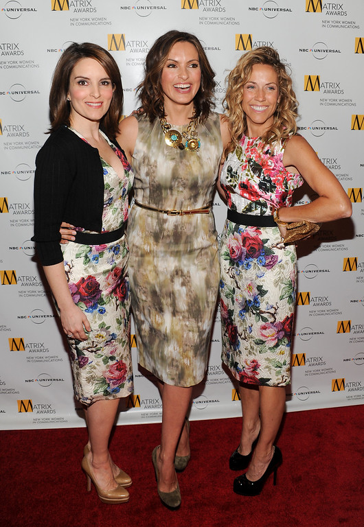 . Honoree, executive producer/writer and actress Tina Fey, left, actress Mariska Hargitay and honoree, singer/songwriter Sheryl Crow, right, attend the 2010 Matrix Awards presented by the New York Women in Communications at the Waldorf-Astoria Hotel on Monday, April 19, 2010 in New York. (AP Photo/Evan Agostini)