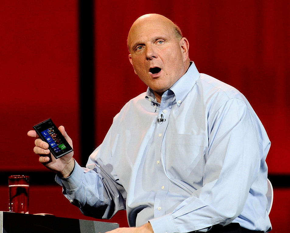 . Microsoft CEO Steve Ballmer talks as keynote speaker to kickoff the start of the 2012 CES show in Las Vegas NV. This is the last show that Micorsoft  will kick off with a keynote speech, that ends a run of 15 straight years. It\'s also the last time Microsoft will have a booth at the CES  show.  The problem with the show\'s timing will be acute for Microsoft this year. A new version of Windows won\'t be ready until the fall. In his keynote speech Monday evening, CEO Steve Ballmer showed a demo of the new Windows 8. Las Vegas NV.  Jan 9,2012, Photo by Gene Blevins/LA DailyNews