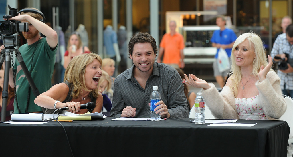 ". Judges (L-R) producer/director Bonnie Lythgoe, Michael Johns from ""American Idol\"" and actress Charley King during the talent search for the next \""Cinderella\"" at Culver City in Los Angeles on July 14, 2010.  The winner of the search will appear as the lead in \""Cínderella, A Modern Magical Musical Extravaganza\"" that will be produced by Nigel, Bonnie, and Kris Lythgoe, who also produce \""So You Think You Can Dance\"", \""Dancing With The Stars\"" and \""American Idol\"".               (MARK RALSTON/AFP/Getty Images)"