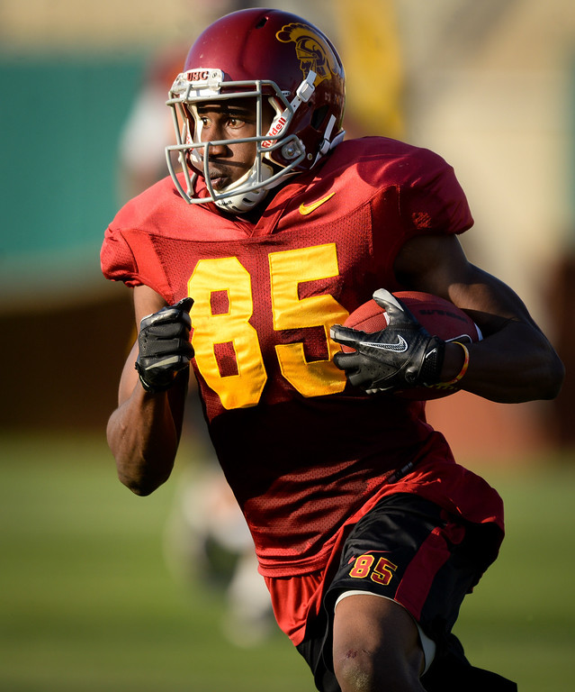 . USC WR Victor Blackwell heads upfield after a reception at practice, Thursday, March 27, 2014, at USC. (Photo by Michael Owen Baker/L.A. Daily News)