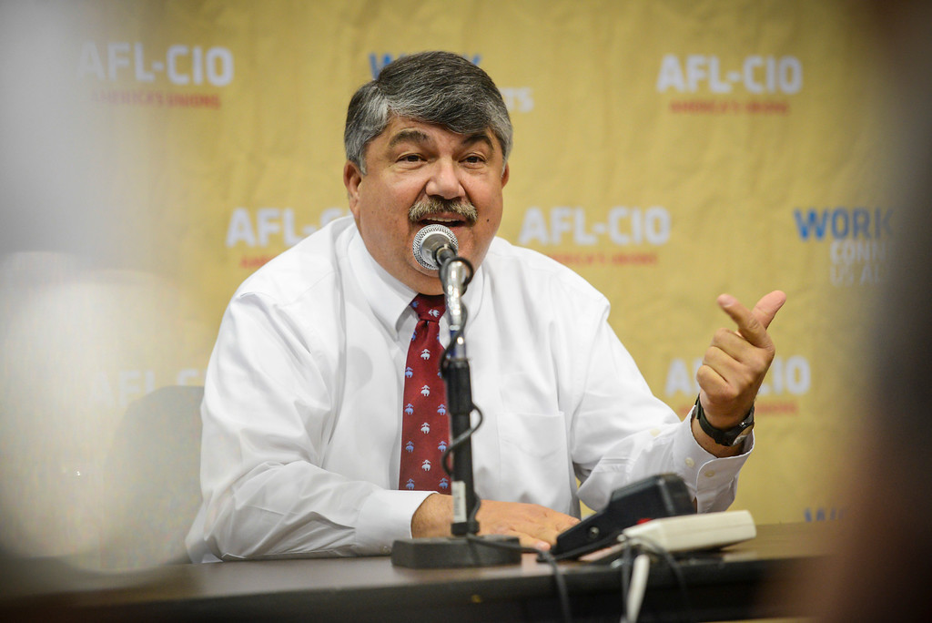. AFL-CIO President Richard Trumka talks about the labor movement over the next four years at a press lunch briefing with press on the eve of the AFL-CIO convention at the Los Angeles Convention Center in Los Angeles Sunday, September 8, 2013  ( Photo by David Crane/Los Angeles Daily News )
