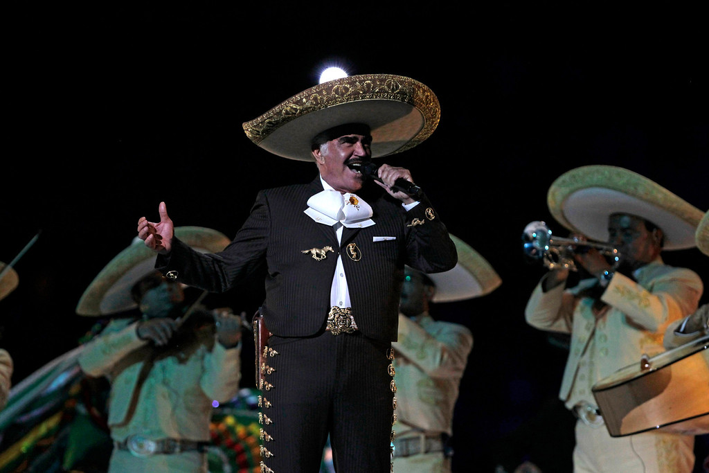 . The King of the Ranchera Music, Vicente Fernandez holds the Gibson Amphitheatre\'s record for most consecutive sellouts (14),    <br />Fernandez performs during the opening ceremonies for the 2011 Pan American Games in Guadalajara, Mexico, Friday, Oct. 14, 2011.(AP Photo/Silvia Izquierdo)