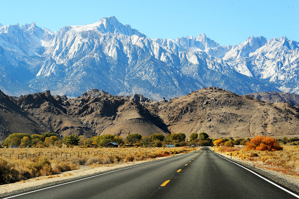 . Highway 136 leading to Lone Pine, the Alabama Hills and the Sierra Nevada range. (Photo by Michael Owen Baker/L.A. Daily News)