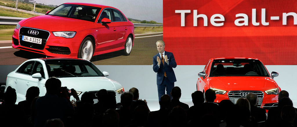 . Nov 20,2013 Los Angeles CA. USA. Scott Keogh President of Audi of America shows the new line of A8 Audi\'s during the 2013 Los Angeles Auto Show. Photo by Gene Blevins/LA Daily News
