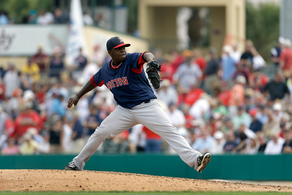 . <b>RUBBY DE LA ROSA</b> <br />The 24-year-old right-hander was one of two players to be named because he was recovering from a torn ulnar collateral ligament in his right elbow. He went 3-3 with a 4.23 ERA in 20 starts for Triple-A Pawtucket this season. Was called up by the Red Sox on Aug. 3. Has appeared as a reliever in five games and given up three earned runs in 5.2 innings.  (AP Photo/Jeff Roberson)