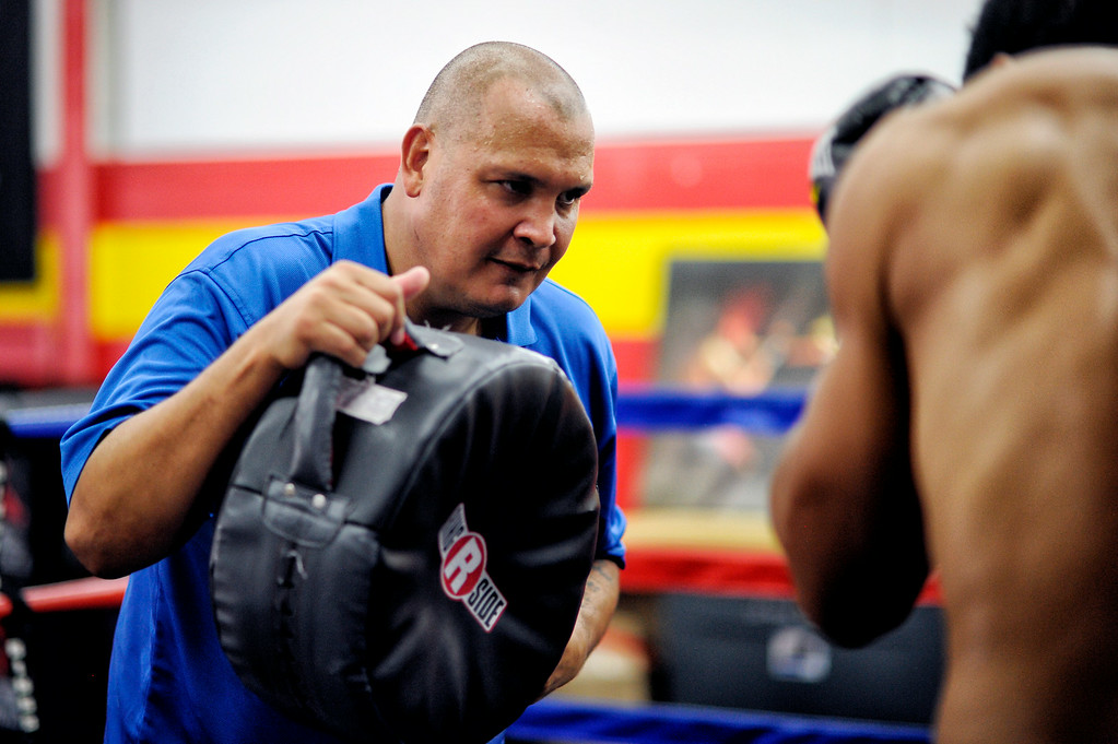 ". Taishan Dong works with coach John Bray at the Glendale Fighting Club in Glendale Tuesday, July 15, 2014. At 6\'11"" Dong will be making his debut on July 18th at the Longshoremen�s Hall, San Francisco, California. (Photo by Hans Gutknecht/Los Angeles Daily News)"