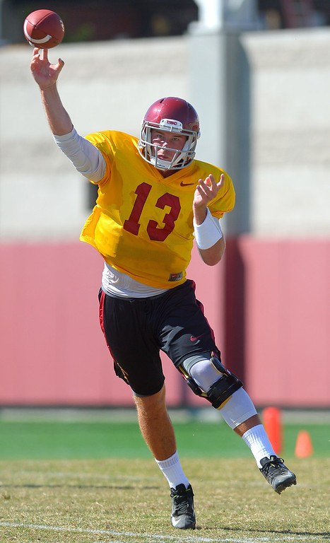 . Quarterback Max Wittek makes a pass during USC practice August 20, 2013.(Andy Holzman/Los Angeles Daily News)