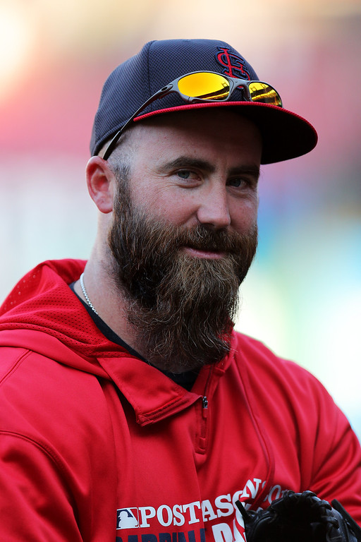 . ST LOUIS, MO - OCTOBER 11:  Jason Motte #30 of the St. Louis Cardinals looks on duroing batting practice prior to Game One of the National League Championship Series against the Los Angeles Dodgers at Busch Stadium on October 11, 2013 in St Louis, Missouri.  (Photo by Ed Zurga/Getty Images)