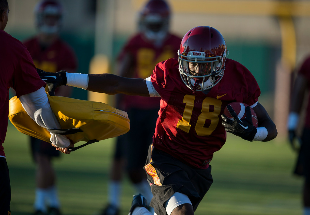 . Ajene Harris #18 during practice at USC, Howard Jones Field on the USC campus in Los Angeles, Monday, August 4, 2014. (Photo by Hans Gutknecht/Los Angeles Daily News)