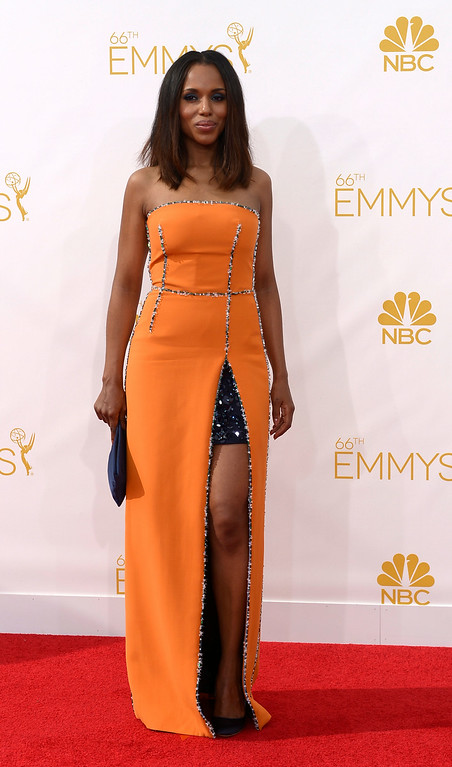 . Kerry Washington on the red carpet at the 66th Primetime Emmy Awards show at the Nokia Theatre in Los Angeles, California on Monday August 25, 2014. (Photo by John McCoy / Los Angeles Daily News)