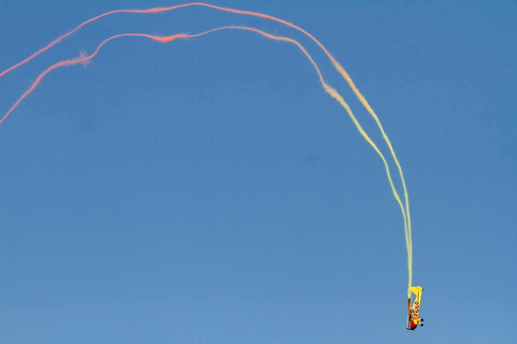 . Kent Pietsch gives an aerial performance in an Interstate Cadet aircraft during the Hangar 24 AirFest and 6th Anniversary Celebration on Saturday, May 17, 2014 at the Redlands Municipal Airport in Redlands, Ca. (Photo by Micah Escamilla/Redlands Daily Facts)