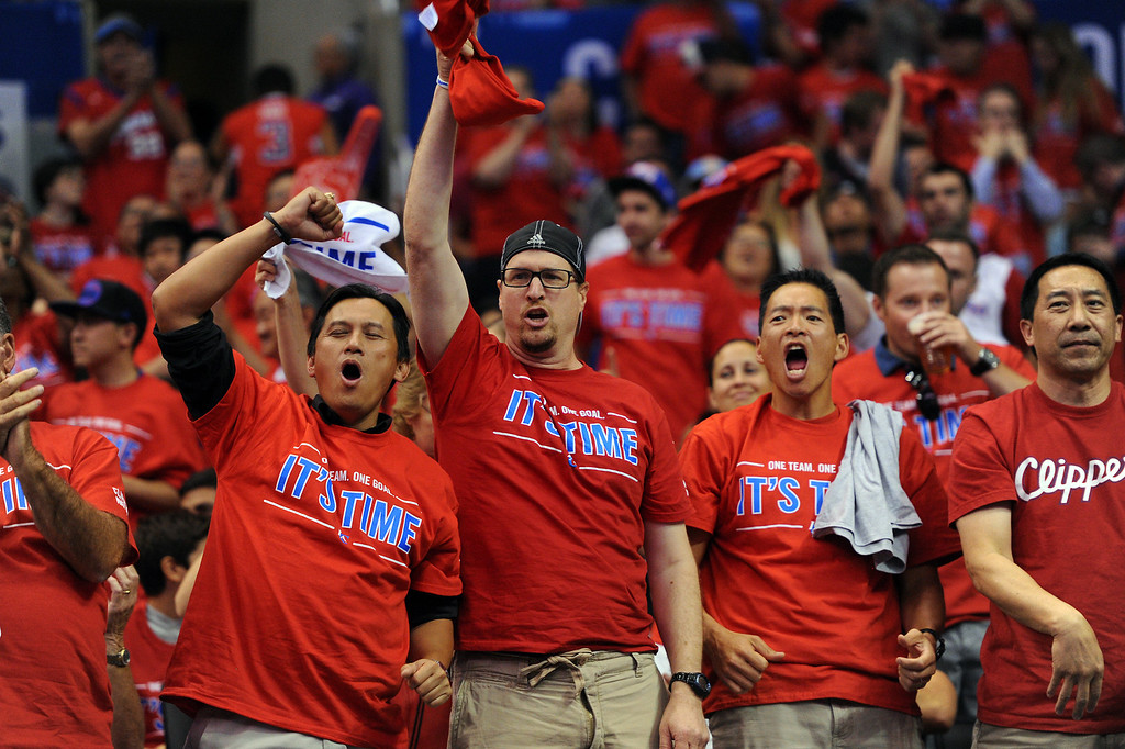 . Clipper fans cheer as the Clippers open a lead against the Thunders in game six of the Western Conference semifinals, Thursday, May 15, 2014, at Staples Center. (Photo by Michael Owen Baker/Los Angeles Daily News)