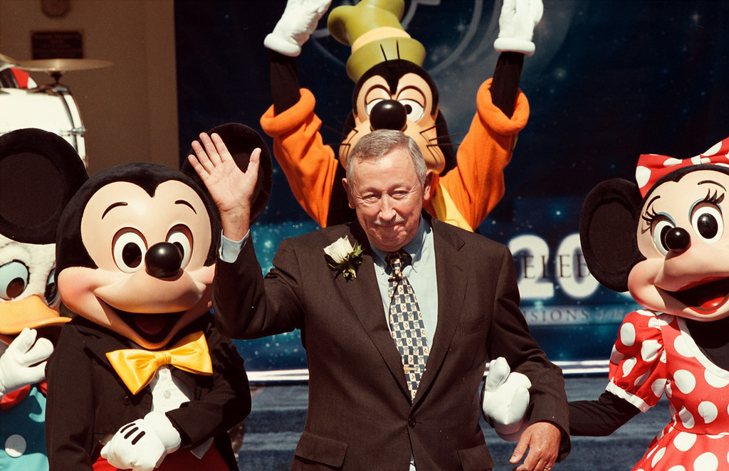 . Roy E. Disney, Vice-chairman of The Walt Disney Company and chairman of Disney Feature Animation, was named Grand Marshal of the 111th Tournament of Roses Parade, in testament to its theme Celebration 2000: Visions of the Future.  Roy E. Watson on steps of Tournament House in Pasadena  with Disney characters. Pasadena Star News file photo.