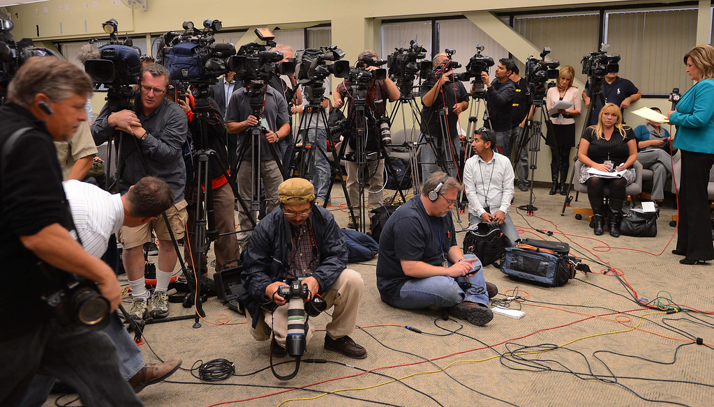 . The news conference at the San Bernardino County Sheriff\'s Department on Friday, Nov. 15, 2013, where the identities of two of the sets of remains were confirmed. (LaFonzo Carter/The Sun)