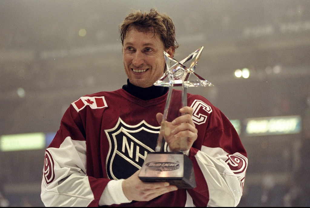 . 24 Jan 1999:   Wayne Gretzky #99 of the North American Team holds his MVP award during the 1999 All-Star Game against the World Team at the Ice Palace in Tampa, Florida. The North American Team defeated the World Team 8-6. Mandatory Credit: Elsa Hasch  /Allsport
