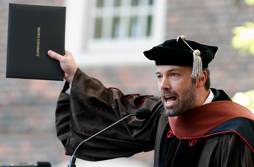 . Ben Affleck speaks after receiving an honorary degree at Brown University\'s 245th commencement in Providence, R.I., Sunday, May 26, 2013. (AP Photo/Michael Dwyer)