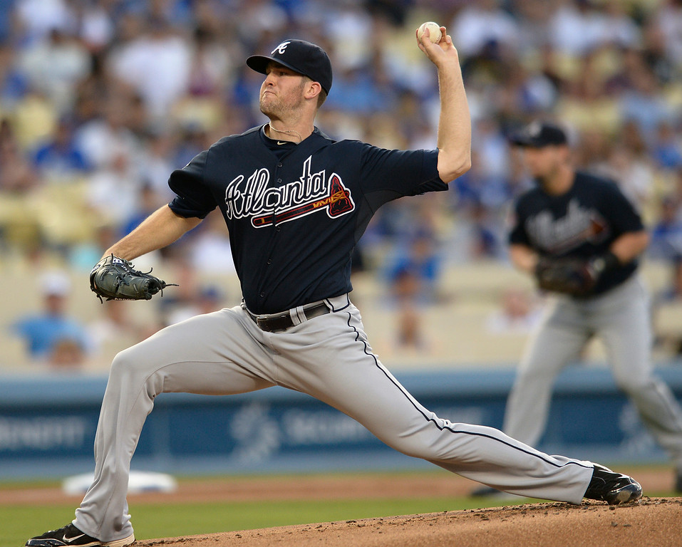 . Braves Alex Wood on the mound in the 2nd inning. The Dodgers played host to the Atlanta Braves in a game played at Dodger Stadium in Los Angeles, CA. 7/30/2014(Photo by John McCoy Daily News)